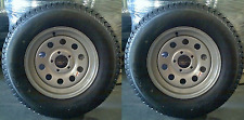 "2-Pack Mounted Trailer Tire & Rim 205/75D-15 Modular Silver 5H Wheel 5"" Center"