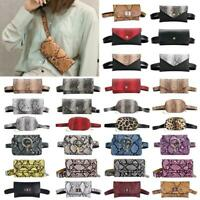 Snake Print Women Waist Fanny Pack Hip Purse Leather Chest Bag Phone Pouch Bag