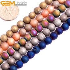 "Metallic Titanium Coated Druzy Quartz Agate Round Beads For Jewellery Making 15"""