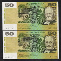 Australia R-508. (1983) 50 Dollars - Johnston/Stone.. aU-UNC - CONSECUTIVE Pair