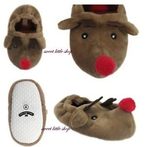 Holiday Time Boy & girl Christmas Holiday REINDEER Slippers Infant Sz 2 3 4 5 6