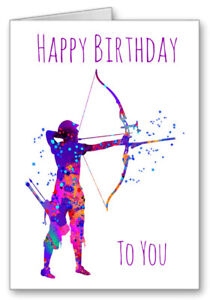 Archery Happy Birthday Card Watercolour Effect  Bow And Arrow All Cards 3 for 2