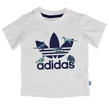 Adidas Originals Niños Chicos Trefoil Logo Camiseta Dinosaurio Blanco Azul