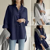 ZANZEA Femme Basique Coton Manche Longue Asymétrique Chemise Haut Shirt Plus