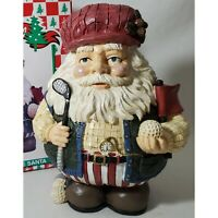 "Golfing Santa Claus 7"" Resin Figurine Christmas Decor Patriotic Red White Blue"