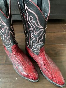 BEAUTIFUL vintage Nocona Red python Sz 12 Cowboy Boots - $1 NO RESERVE!