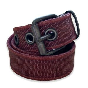 John Varvatos Red Coated Canvas and Gray Leather Grommet Belt Sz 32