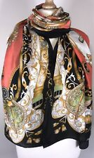 NEW Designer Inspired Scarf Pashmina Black Coral Gold Baroque Silky Soft Long