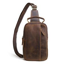 Mens Check Bag Leather Handbag Shoulder Bags Vintage Travel Walking Backpack Men
