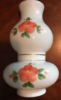 Antique Vintage White Milk Glass DOUBLE BULGE CHIMNEY Hand Painted Flowers NR