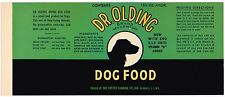VINTAGE CAN LABEL RARE DOG FOOD C1950 DR OLDING FOSTER GLENDALE LONG ISLAND