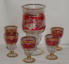 Cranberry Cut to Clear Decanter and 5 Glasses Vtg Gold Trim Floral Bohemian