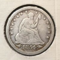 1854 Seated Liberty Quarter, ARROWS,  Tough Date, Better Grade Free S/H!