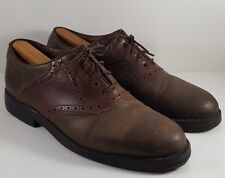 Johnston & Murphy Passport (10 M) Brown Leather Saddle Dress Oxfords Shoes ITALY