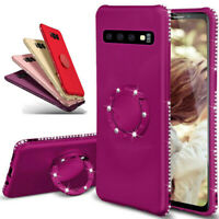 For Samsung Galaxy S9 S10 Plus S10e Magnetic Ring Stand Bling Diamond Case Cover