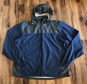 Frogg Toggs Mens Navy & Gray Hooded Rain Jacket Sz XL