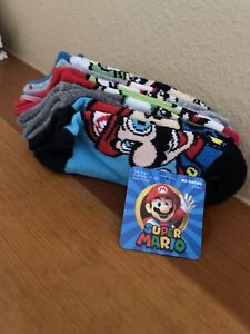 Boys Super Mario 5 Pairs No Show Socks Size:6-8.6 shoe size 7.5-3.5 yoshi toad