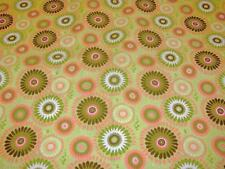 Feather Dance Medallions Paint Splatter Circle Flowers on Cotton Fabric By Yard
