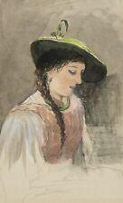 Mädchen in österreichischer Tracht mit Zopf und Hut, um 1890, Aquarell