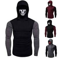 Mens Full Face Mask Skeleton Hoodie Sweatshirt Pullover Tops Halloween Costume
