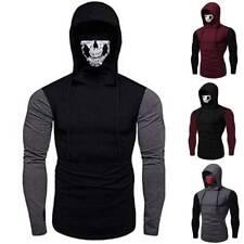 Men Full Face Cover Skeleton Skull Hoodies Hooded Sweatshirts Pullover Halloween