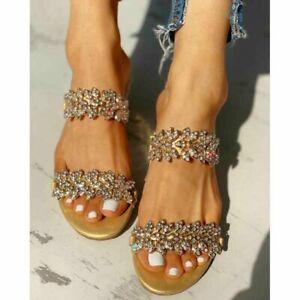 Women's Slippers Rhinestone Sandals Open Toe Slip On Low Block Heel Beach Shoes