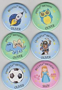 Set of personalised children's party name badges - Themes inc princess or pirate