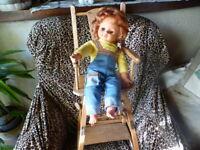 45cm poupée vintage + vieux jouet chaise de poupée lot pour collection ,fillett