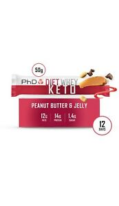 PhD Diet Whey KETO protein bar -12 pack - Various flavour