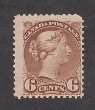 Canada No. 39d, 6c brown small Queen. F for issue, Very lightly hinged.