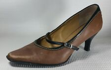 Rockport Sole Innovation Leather Kitten Pump Heel Brown Black Mary Jane 6 M Shoe