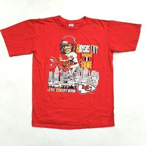 VTG 90s NFL Kansas City Chiefs Here I Come Joe Montana Men's Large T-Shirt Red