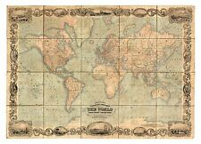 Vintage Old decorative World Map Johnson 1847 paper or canvas