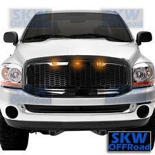 06-08 Dodge RAM Truck Raptor Style Gloss Black Mesh Grille+Shell+3x Amber LED