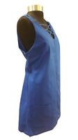 Women's Short Blue Sleeveless Pinafore Dress With Pockets UK Size 14 B20