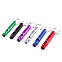 #QZO 6pcs Aluminum  Pet Dog Training Whistle Flute Portable Keychain Whistle