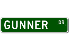 GUNNER Street Sign - Personalized Last Name Signs