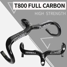 TOSEEK Carbon Fiber Road Bike Cycling Integrated Drop Bar Stem Handlebars 28.6mm