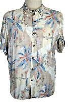 Batik Bay Men's XL Brown Blue Yellow Orange Hawaiian Shirt Tropical Palms Camp