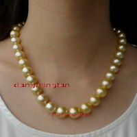 "Round long AAAAA 20""11-12mm Natural south sea golden pearl necklace 14K GOLD"