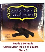 LOT de 5 Boites Costus Indien en Poudre Indian Sailor Costus Moulu 100% Naturel