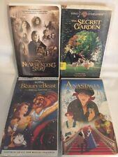 4 DISNEY VHS Tapes ANASTASIA Secret Garden Beauty & The Beast Neverending Story