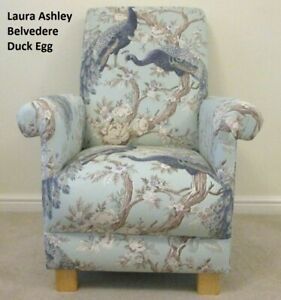 Laura Ashley Belvedere Fabric Adult Chair Peacocks Duck Egg Armchair Accent Blue