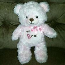 Okie Dokie MY FIRST BEAR Pink Teddy Bear Soft Fuzzy 12in Plush Lovey Pink Bow