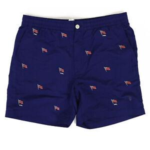 Polo Ralph Lauren Swimsuit Swim Shorts Navy w/ Multi USA Flags