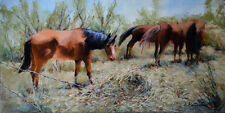 Texas Hill Country Horses Farm Impressionism Original Animal Ranch Oil Painting