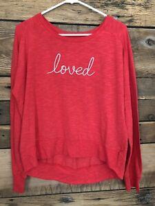 """Women's Secret Treasures long sleeve lounge pajama top M red """"loved"""" Sleeperwear"""