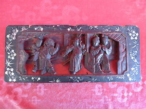 Antique Bois Sculpture sur Bois __ Chine ( O. Japon )__ de la Cour Scènes__36cm