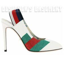 GUCCI white 38 SYLVIE glitter WEB elastic Slingback Pumps shoes NIB Authent $870
