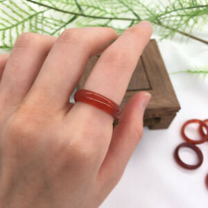#8 Red Agate Carnelian Solid Band Ring Crystal Quartz Gemstone Healing Jewelry